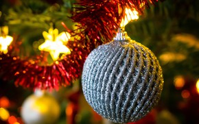 Picture winter, holiday, ball, ball, silver, Christmas, New year, tinsel, bokeh, Christmas decorations, Christmas decorations, Christmas …