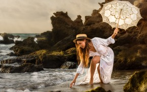 Picture sea, girl, pose, umbrella, mood, rocks, dress, hat, Alex Darash