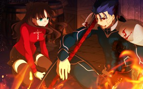 Picture blood, Lancer, Rin, Fate stay night, Fate / Stay Night