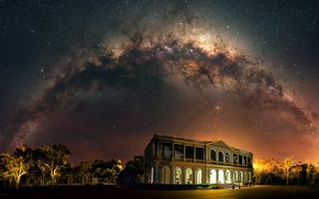 Picture stars, light, trees, night, the building, The milky way, starry sky