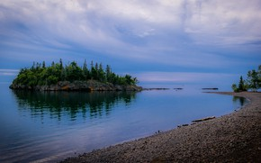 Picture forest, water, clouds, shore, island, The sky