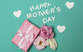 Picture flowers, gift, Happy, hearts, Green background, Mother's Day, the inscription