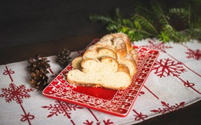 Picture snowflakes, the dark background, table, holiday, new year, food, Christmas, plate, bread, deer, needles, red, …