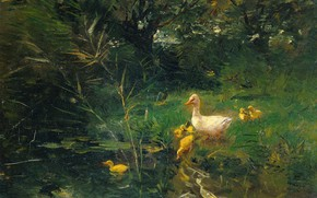 Picture oil, picture, 1907, Willem Maris, Willem Maris, Duck with ducklings