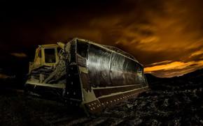 Picture machine, night, excavator