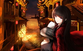 Picture Girl, Night, The city, Butterfly