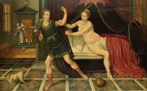 Picture oil, picture, mythology, 1575, Иосиф и жена Потифара