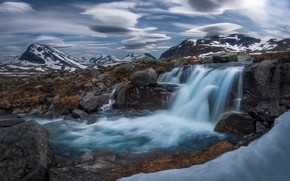 Picture mountains, river, waterfall, Norway, cascade, Norway, The Scandinavian mountains, Jotunheimen, Jotunheimen, Scandinavian Mountains