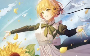 Picture summer, girl, sunflowers, the wind, petals, the maid, paper airplanes