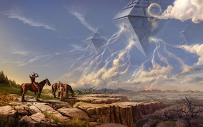 Picture fantasy, nature, science fiction, sci-fi, men, horse, artist, spaceships, artwork, fantasy art, riders, Mark Akopov, …