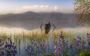 Picture clouds, flowers, mountains, branches, fog, lake, reflection, shore, boat, tops, people, spring, morning, haze, male, …