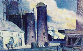 Picture picture, 1907, Maximilien Luce, Maximilien Luce, The construction of Blast Furnaces in Charleroi, industrial landscape