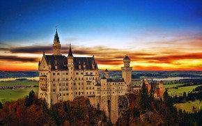 Picture Sunset, Trees, Germany, Castle, Bayern, Germany, Neuschwanstein, Bavaria, Neuschwanstein Castle, Bavarian Alps, The Bavarian Alps, …
