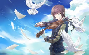 Picture violin, the game, dove, anime, guy, 100 Sleeping Princes and the Kingdom of Dreams