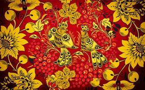 Picture Flowers, Red, Bird, Birds, Style, Background, Painting, Art, Khokhloma, Khokhloma painting, madeinkipish, Ivan Ivanovich, Russian …
