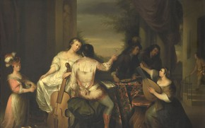 Picture oil, picture, 1757, Melchior Brussouw, Playing music company, Melchior Brassauw