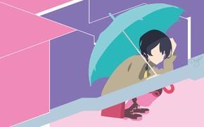 Picture minimalism, umbrella, girl, sitting