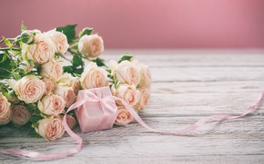 Picture gift, bouquet, tape, pink, roses