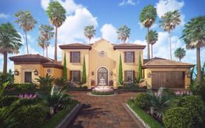 Picture pavers, yard, fountain, structure, Spain Villa De La Rosa