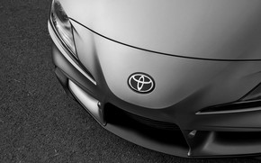 Picture grey, coupe, the hood, before, emblem, Toyota, Supra, the fifth generation, mk5, double, 2019, GR …