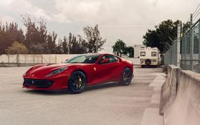 Picture Ferrari, Sunset, Scuderia, Grid, RED, Superfast, 812