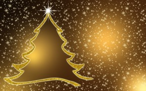 Picture winter, snow, lights, holiday, vector, contour, silhouette, Christmas, New year, snowfall, stars, Christmas tree, Christmas …