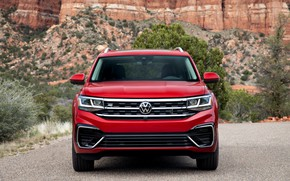Picture red, Volkswagen, front view, SUV, Atlas, 2020