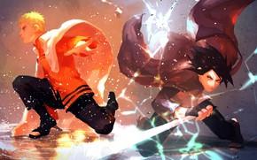 Picture lightning, sword, the battle, cloak, friends, ninja, Sasuke Uchiha, shinobi, Naruto Uzumaki, Naruto Shippuden, Sasuke …