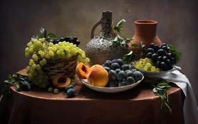 Wallpaper grapes, still life, peaches