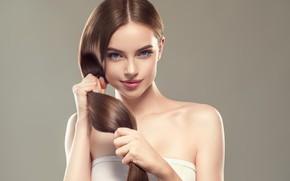 Picture girl, model, Look, Hair, Hands, Brown hair, Ryabusjkina Irina