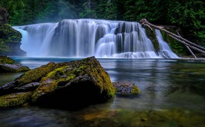 Wallpaper USA, stones, river, Lewis River, river Lewis, forest, Lower Lewis River Falls, Washington, moss, trees, ...