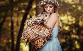 Picture forest, girl, light, trees, flowers, nature, face, background, each, owl, bird, wings, blonde, friendship, wreath, …