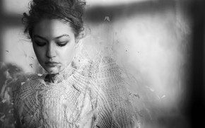 Picture model, portrait, black and white, Gigi Hadid