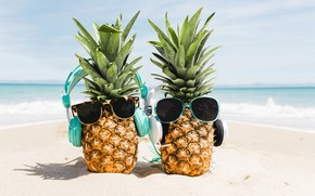 Picture beach, summer, stay, glasses, pineapple