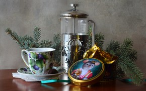 Picture table, tea, new year, kettle, tape, Cup, tree, still life