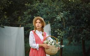 Picture girl, trees, basket, garden, braids, hat, sundress, Jasmine, Xenia, Anastasia Dobrovolskaya
