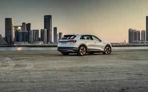 Picture white, Audi, home, Parking, E-Tron, 2019