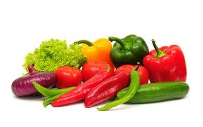 Picture cucumber, bow, white background, pepper, sharp, vegetables, tomatoes, cabbage, sweet, bulb