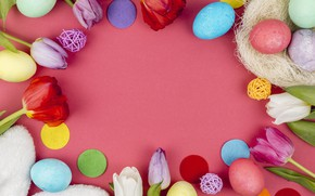 Picture flowers, eggs, colorful, Easter, tulips, happy, flowers, tulips, eggs, easter, decoration