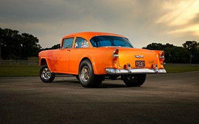 Picture Muscle, Orange, Race, Ass, Coupe, Chevy, Modified, Chevrolet 210