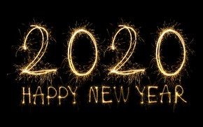 Picture lights, salute, New Year, golden, black background, happy, New Year, fireworks, sparkle, 2020