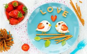Wallpaper Breakfast, strawberry, breakfast, sandwiches, Valentines Day, sweet sticks