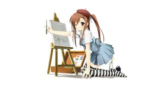Picture figure, schoolgirl, takes, on my knees, easel, striped stockings, by kantoku