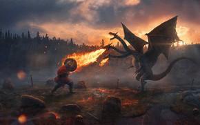 Picture forest, sunset, stones, flame, sword, bones, hero, armor, Russia, Dragon, Evgenij Kungur