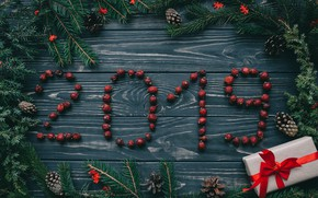 Picture berries, background, tree, New Year, Christmas, Christmas, wood, New Year, gift, decoration, Happy, Merry, fir …