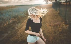 Picture field, girl, pose, smile, hair, Jiri Tulach
