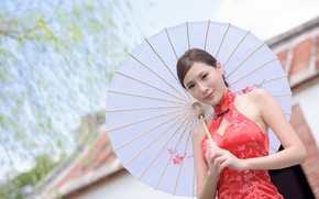 Picture look, pose, smile, model, portrait, umbrella, makeup, dress, hairstyle, brown hair, Asian, is, in red, …
