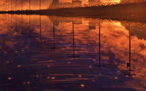 Picture lake, reflection, home, power lines