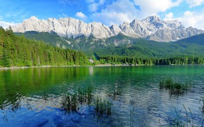 Picture landscape, mountains, reflection