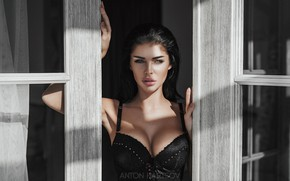 Picture chest, look, girl, face, hands, window, Anton Kharisov, Pauline Polinina